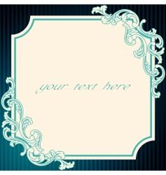 vintage rococo frame in blue vector image vector image