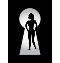 woman key hole vector image vector image