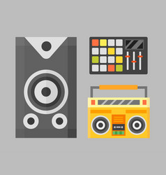 acoustic musical speaker audio equipment musical vector image