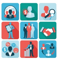 Business and management icons flat vector image vector image