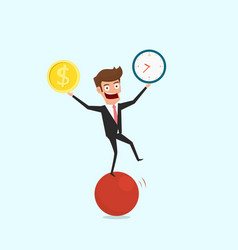 businessman balancing on sphere juggling time and vector image