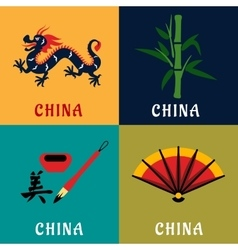 China culture and tradition flat icons vector image