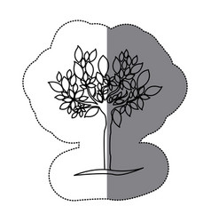 contour tree with many leaves icon vector image
