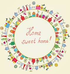Home sweet - funny graphic card vector image