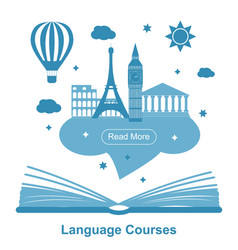 language courses poster vector image vector image