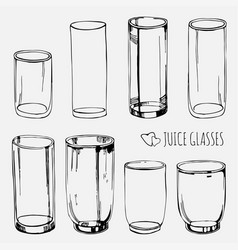 set of empty juice and water glasses skethed vector image vector image