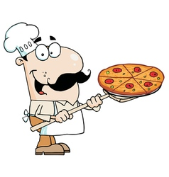 Caucasian Chef Carrying A Pizza Pie vector image