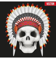 Human skull with indian chief hat vector image vector image