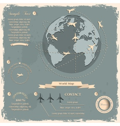 Retro style design with aircrafts and Globe vector image vector image