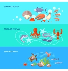 Sea Food Banner Set vector image vector image