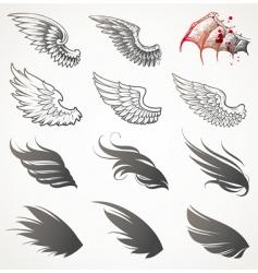 set of wings vector image