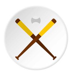 baseball bats and baseball icon circle vector image vector image