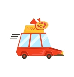 Car With Pizza Sign Delivering FoodPart Of vector image vector image