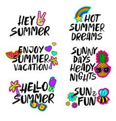 hand drawn cartoon summer lettering set vector image vector image