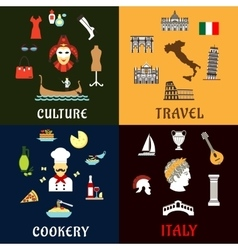 Italy landmarks culture ans cuisine flat icons vector image vector image