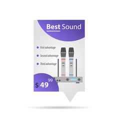 label template - wireless microphones vector image