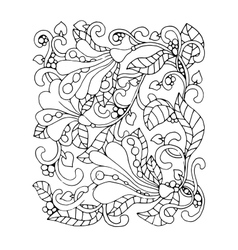 Monochrome Floral Pattern Hand Drawn vector image vector image