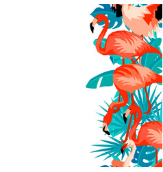 seamless border with flamingo tropical bright vector image vector image