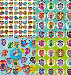Set of 4 seamless pattern with owls vector image vector image