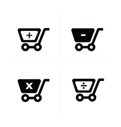 shopping cart icons with mathematical symbol vector image vector image