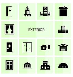 14 exterior icons vector