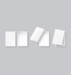 3d white open box with shadow set vector image