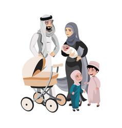 a large family of arab origin vector image