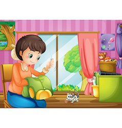 A mother sewing clothes vector