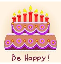 applique birthday cake vector image