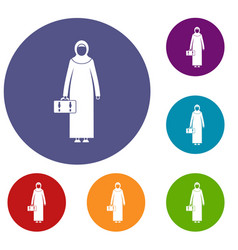 Arabic woman icons set vector