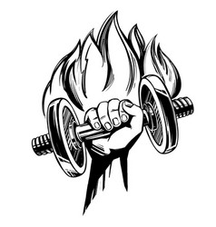 Arm strong hand holding a dumbbell with fire vector