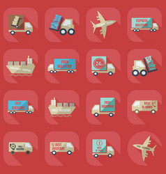 Assembly icons transport delivery set vector