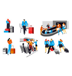 babbage claim in airport people wait by carousel vector image