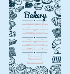 Bakery hand drawn cafe menu template vector