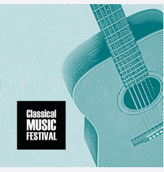 Banner for classical music festival with a guitar vector