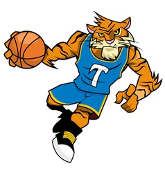 Basket Ball Mascot Tiger Blue uniform vector