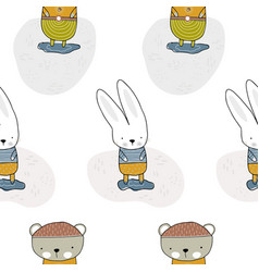 bear and rabbit standing in a clearing children s vector image