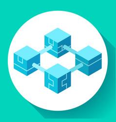 blockchain technology icon servers network vector image
