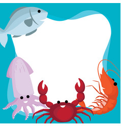 border and frame of doodle cute cartoon sea vector image
