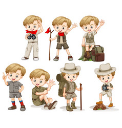 Boy in outdoor outfit doing different things vector