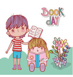 boy with open book and girl sitting reading vector image