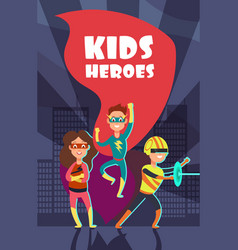 Brave superhero kids cartoon poster vector