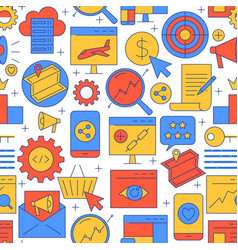 bright seo seamless pattern in line style vector image
