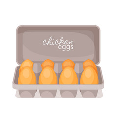 carton box with fresh chicken eggs farm product vector image