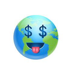 Cartoon earth face with dollar sign icon funny vector