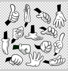 Cartoon hands with gloves icon set isolated vector
