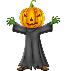 cartoon kid with halloween pumpkin costume vector image