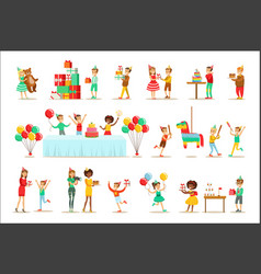 Children birthday party set scenes vector