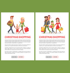 Christmas holiday shopping family web pages set vector