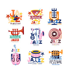 colorful logos set for jazz festival or live vector image